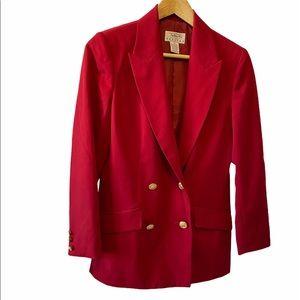 TALBOTS Petites Red 100% Wool Gold Button Blazer 4